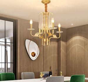 Держатель E14 Люстры Освещение Nordic Современные люстры освещения света Подвесной светильник Luxury Gold Metal Кристалл лампы MYY