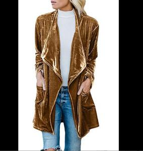 Women's Trench Coats Outerwear clothing Lapel Cardigan Loose coat Best Sellers Velvet Medium length Windbreaker girl Yellow gray blackClaret