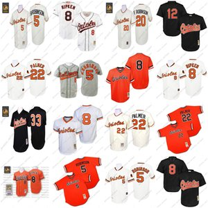 Cheap Men's Mitchell and Ness BaltimoreS #22 Jim Palmer Orioles 5 Brooks Robinson 8 Cal Ripken 33 Eddie Murray Throwback Jersey