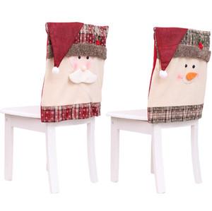 Red Partido mesa de jantar Papai Noel Cap Natal Cadeira Coberta Hat Chair Voltar Covers Xmas Decorações de Natal para Casa LXL635-1