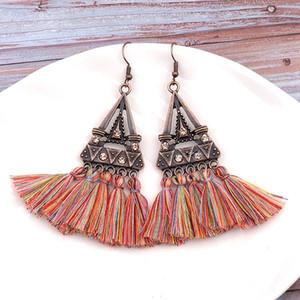 Bohemian Colorful nappa orecchini per le donne del triangolo di cristallo dell'annata intarsio frangia ciondola gli orecchini gioielli regalo Charm