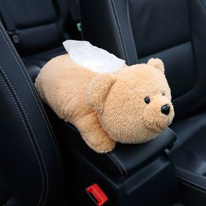Caja de pañuelos coche apoyabrazos lindo animales de la felpa del oso de apoyo para la cabeza del ornamento de usos múltiples del asiento lavable Volver servilleta de papel titular de la decoración de interiores