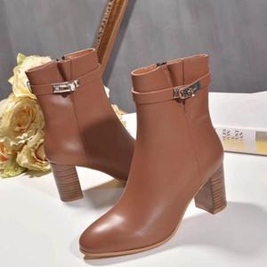 ربط الحذاء حتى المسامير الأحذية دراجة نارية جولة النساء تو عالية الكعب مارتن أحذية نسائية قصيرة القطيفة الكاحل أحذية للمرأة 35-40