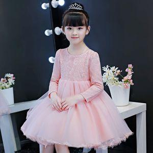 Red Wedding Flower Girls' Dresses Tutu 2020 Toddler Little Girls Pageant Communion Dress Bow Tulle Long Sleeve Cheap