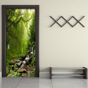 PVC auto-adhésif forêt porte autocollant 3D étanche Paysage Photo Wallpaper Salon Salle Home Decor Wall Paper Pour 3 D T200331