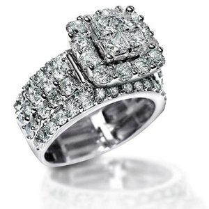 Vecalon Vintage Court Ring 925 prata esterlina Quadrado Diamantes cz Promise Engagement Anéis Da Banda De Casamento Para As Mulheres De Noiva Jóias