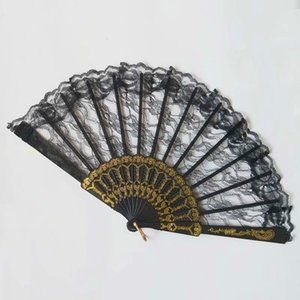 1PC Chinese Style Lace Hand Held Folding Fan Dance Party Wedding Decor Folding Hand Held Solid Color Fan