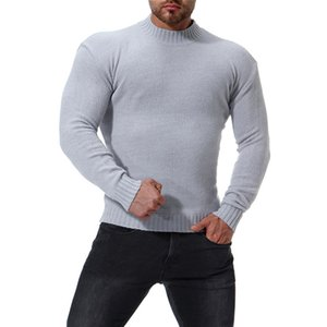 2018 Autumn and Winter new Men's High collar Slim Bottoming shirt Men's Solid color Sweater Color Black   White   Light gray