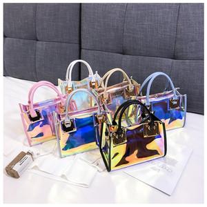 Bustine Trasparenti Ologramma di mano delle signore di nuovo modo di Laser Crossbody borsa femminile del PVC Big Tote Ragazze Chiaro Borse Borsa Mujer