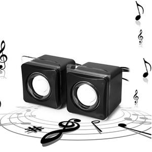 A Pair Cube Shape Speaker 3.5mm Port Mini Notebook Style Portable Laptop   Desktop Pure Sound USB Speaker