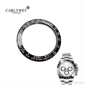 CARLYWET Atacado de alta qualidade cerâmica preto com branco Escrita Assista Bezel para 116500-116520