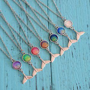 Sirena Collares Joyería Moda Resina Escala de pescado Diseño de cola Colgante Encantos Cadena de eslabones de plata Regalo de la joyería para las mujeres Lady Girls