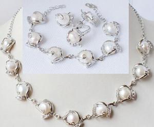 10-11mm extraño naturales joyería de la boda White Pearl circón pendiente de RingLovely de las mujeres collar bonito
