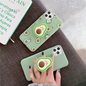 2020 caja del teléfono del diseñador 3D fruta linda de la historieta de aguacate casos de silicona suave para el iPhone X XR XS 11 Pro Max 6S 7 8 más Holder coque regalo tapa