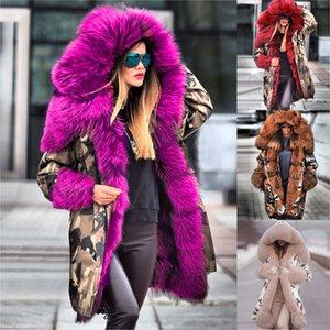 Invierno con capucha de terciopelo de gran tamaño Ártico capa de las mujeres caliente largo ocasional chaquetas algodón de las señoras más el tamaño de la chaqueta del invierno de las mujeres Parka