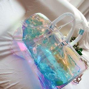 2020 лазерная печать цепи ручной клади дорожная сумка ПВХ вещевые мешки мужчины и женщины одно плечо его большая прозрачная дизайнерская сумка