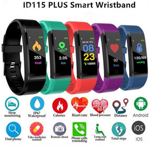 ID115 Plus Smart Bracelet Wristband Fitness Tracker Smart Watch Heart Rate Health Monitor Universal Android Cellphones with Retail Box MQ50