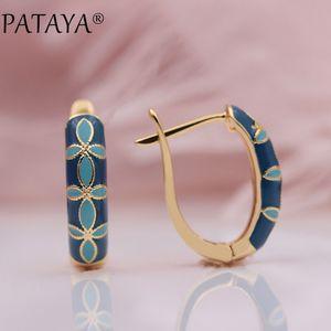 Pataya Neuheiten 585 Rose Gold Italien Ziehen Ölgemälde Farbe Baumeln Ohrringe Feine Blumen Frauen Hochzeit Klassische Schmuck C19041101