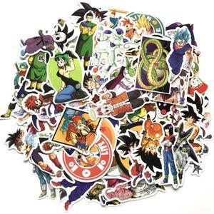 100 unids / set Nuevo Dragon Ball Z Graffiti Sticker Personalidad Equipaje DIY pegatinas de dibujos animados PVC Pegatinas de pared bolsa accesorios niños juguetes
