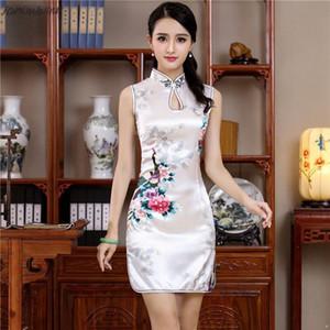 Stilisti delle donne di stile di estate Bianco Mini Cheongsam cinese tradizionale twill Rayon Vestito Elegante Slim Qipao novità Vestidos