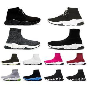 Balencaiga Siyah Beyaz Yeşil Pinks Gri kadınlar Casual ayakkabı yukarı dantel ile Mens Hız Traniers Temizle Sole ağırlık Çorap Ayakkabı