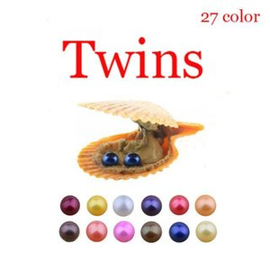 2020 DIY Akoya alta qualidade barata amor Seawater shell Twins ostra pérola 6-8mm ostra pérola shell vermelho com vácuo embalagem Tendência Surprise