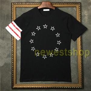 2020 Nouvelle marque de mode Hommes rouge et imprimé étoile rayé blanc T-shirt Top Men été T Casual imprimé rayé hommes T-Shirt Designer T-shirts