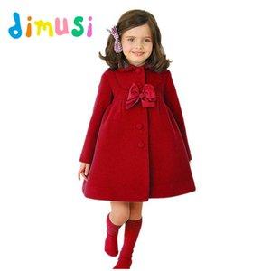 Dimusi Kış Kız Elbise Kalınlaşmak Kızlar Sıcak Pamuk Elbise Çocuklar Katı Uzun Kollu Yün Palto Bebek Kız Dış Giyim Ceketler 10 t, ea051 J190612