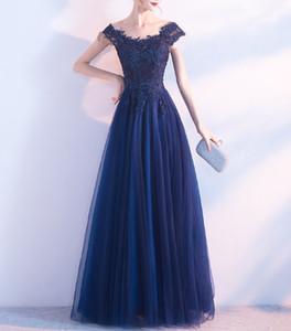 New Fashion Blue Lace party Dress Bridal Banquet Party Elegant Long night Dresses Plus Size long night Dresses