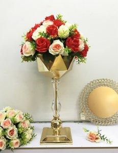 Dernières vases d'or sol de cristal de fleur de fleur de vases géométrique Patter route plomb mariage pièces maîtresses pour la fête événement décoration decor00067