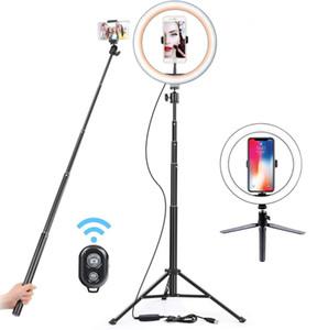 Makyaj Youtube VK video Dim Light Stand 130cm Selfie'nin Çubuk tripod ile 26cm USB LED Işık Halkası telefon Fotoğrafçılık Lambası