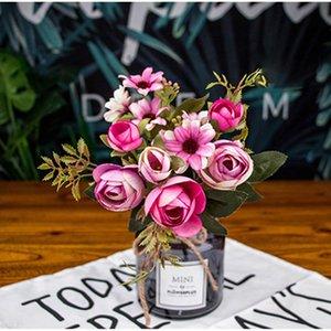 12 Pink Fake Rose Silk Flower Gerbera Daisy Artificial Plastic Flower Wedding Home Decoration DIY Furnishing Living Room Dec