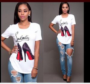Sıcak yaz kadın Avrupa ve Amerikan kadın İmitasyon pamuk kısa kollu gömlek Marka ayakkabı baskılı kısa kollu Tişört kadın B001