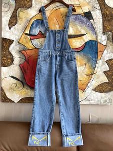 Milão Runway Jeans com tiras 2020 Primavera-Verão Carta do desenhista do bordado Jeans marca Mesmo Jeans Estilo Feminino 0305-3