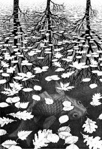 Escher Drei Welten Druck Giclee Seide Plakat Hauptdekoration Wandaufkleber Malerei