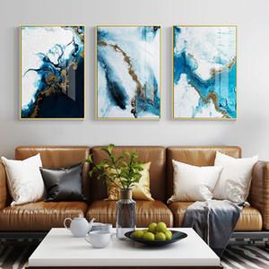 azul Nordic abstrato da cor spalsh cartaz e pintura dourada da lona imprimir únicas decoração de parede arte fotos para estar quarto quarto