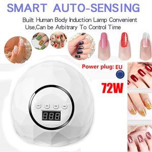 72W UVLamp LED Nail Lamp Nail Dryer for Curing Gel Polish Sun Light Manicure Machine Timer button Sensor Art ToolsG704