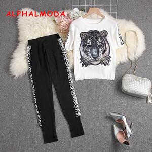 ALPHALMODA 2019 Estate alla moda a maglia tigre maglione + pantaloni della matita 2pcs Knitting vestito donne a maniche corte in maglia Tute