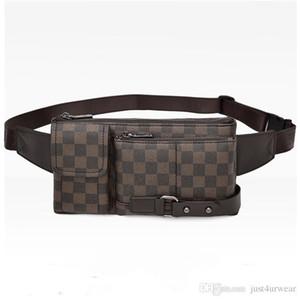 Moda uomo Streetwear Mezzo Borse Plaid Breve Multifunzione impermeabile di colore di contrasto maschio casuale Borse Zipper ad alta capacità