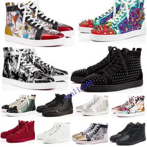 hot2020 فاخر مصمم الأحذية الأحمر القيعان الرجال النساء رصع المسامير منصة أحذية رياضية خمر جلد طبيعي عارضة برشام حذاء رياضة حجم 36-46