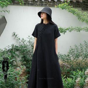 Chinese Fashion Cheongsams for Women Vintage Qipao Long Party Wedding Dress Cotton Linen Hanfu Traditional China Style Clothing