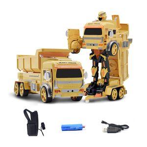 1:12 Жест зондирования с дистанционным управлением Деформация автомобилей Mixer Truck Раскопки Dumper Инженерная машина 2.4GHz RC Robot Car