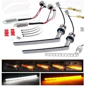 ثنائي اللون الأبيض / الأصفر الأصفر LED متسلسل تتدفق الجبهة صمام غامز بدوره سينغال DRL لألفارد 30 Vellfire 30 نوح Voxy80