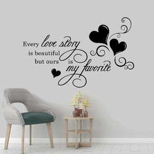 Quote Wall Decal Every Love Story Is Beautiful Ours Is Favorite Sticker Bedroom Decor DIY Vinyl Removable Text Wall Sticker Creative Mural
