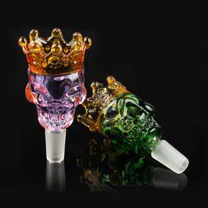 Bacias de vidro de vidro crânio Estilo cor 14 milímetros 18 milímetros tigela Masculino bacia peça para Cachimbo de vidro Água Bongos