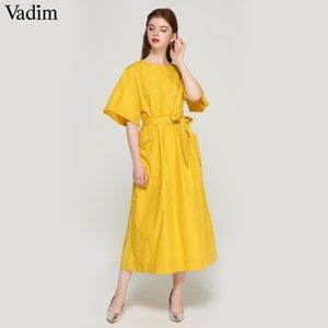 Vadim Women Elegant Yellow Mid Calf Dress Sashes Pockets Elastic Waist Short Sleeve Female Pleated Chic Dresses Vestidos Qz3624 MX19070401