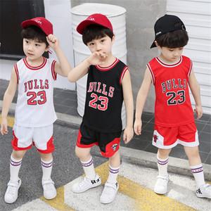 Çocuk giyim 3 renk yürüyor boy giyim çocuk basketbol üniforma eşofman 2 adet set Çocuk erkek kız spor giyim seti kıyafet UJY282