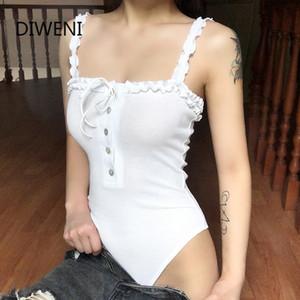 DIWEINI summer sleeveless lace bodysuit female elegant white slim street romper 2020 kpop casual sweet body mujer woman jumpsuit