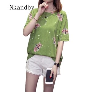 Nkandby Plus size L-4XL Femme T-shirt 2020 Summer Casual Loose Half sleeve Women T shirts Fish Bones Print Cotton Tops Oversized