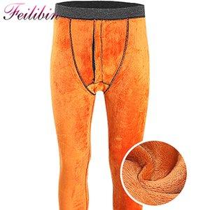 Feilibin Kış Erkek Tozluklar Kalın Erkekler Uzun Johns Artı boyutu Sıcak İç Elastik Tayt Ekleme Yün Erkekler Termal Pantolon Isınma